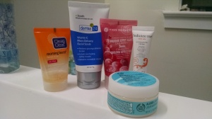 Clean & Clear Morning Burst Facial Scrub; c.booth derma 24 Vitamin C Micro Delivery Facial Scrub; Yves Rocher Cranberry Cooling Effect Mask; The Body Shop Seaweed Mattifying Day Cream; Balance Me Wonder Eye Cream